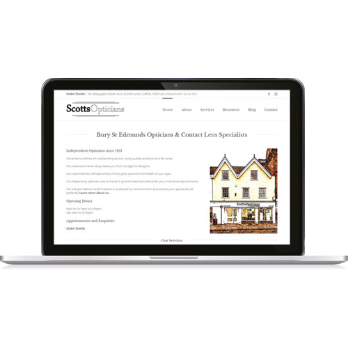 web design bury st edmunds - scotts opticians